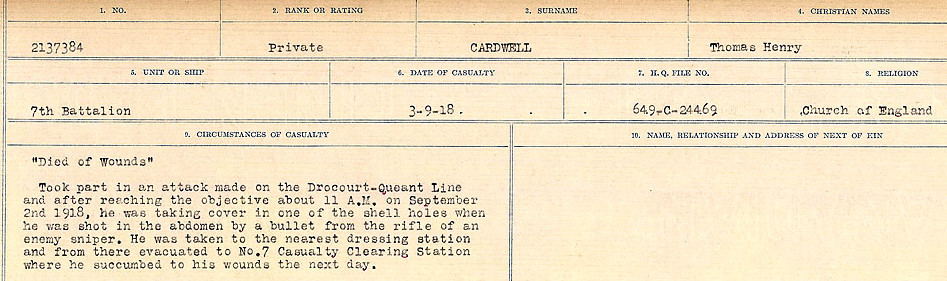 Circumstances of Death Registers– Source: Library and Archives Canada.  CIRCUMSTANCES OF DEATH REGISTERS, FIRST WORLD WAR Surnames:  Canavan to Caswell. Microform Sequence 18; Volume Number 31829_B016727. Reference RG150, 1992-93/314, 162.  Page 165 of 1004.