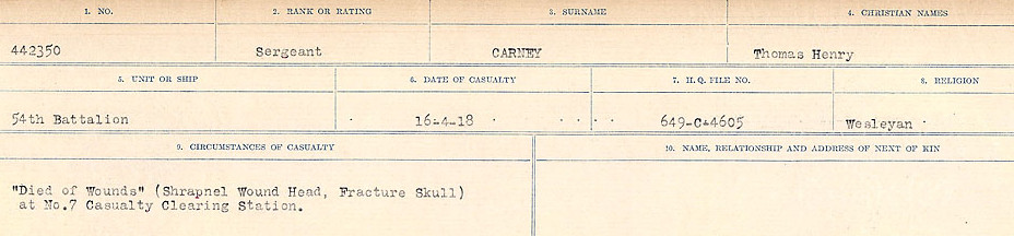 Circumstances of Death Registers– Source: Library and Archives Canada.  CIRCUMSTANCES OF DEATH REGISTERS, FIRST WORLD WAR Surnames:  Canavan to Caswell. Microform Sequence 18; Volume Number 31829_B016727. Reference RG150, 1992-93/314, 162.  Page 357 of 1004.