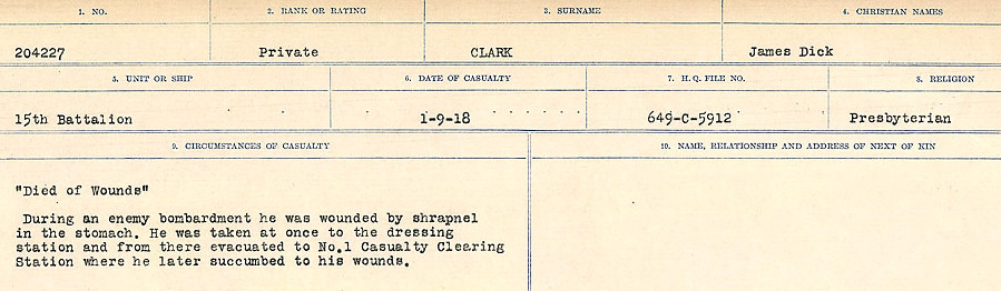 Circumstances of Death Registers– Source: Library and Archives Canada.  CIRCUMSTANCES OF DEATH REGISTERS, FIRST WORLD WAR Surnames:  CHILD TO CLAYTON.  Microform Sequence 20; Volume Number 31829_B016729. Reference RG150, 1992-93/314, 164.  Page 603 of 1068.