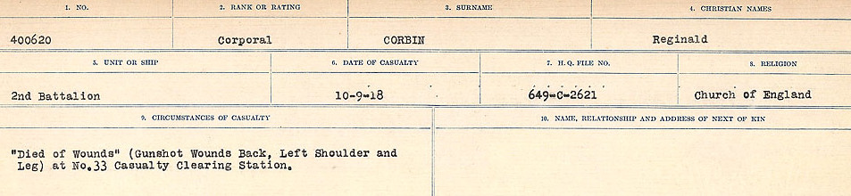 Circumstances of Death Registers– Source: Library and Archives Canada.  CIRCUMSTANCES OF DEATH REGISTERS, FIRST WORLD WAR Surnames:  CORBI TO COZNI.  Microform Sequence 23; Volume Number 31829_B016732. Reference RG150, 1992-93/314, 167.  Page 37 of 900.