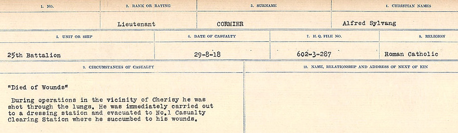 Circumstances of Death Registers– Source: Library and Archives Canada.  CIRCUMSTANCES OF DEATH REGISTERS, FIRST WORLD WAR Surnames:  CORBI TO COZNI.  Microform Sequence 23; Volume Number 31829_B016732. Reference RG150, 1992-93/314, 167.  Page 111 of 900.