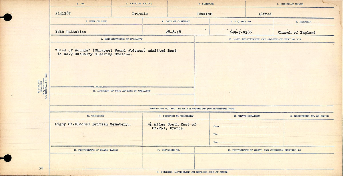 """Circumstances of Death– Circumstances of Death Register: """"Died of Wounds"""" (Shrapnel wound abdomen) Admitted dead to No. 7 Casualty Clearing Station."""