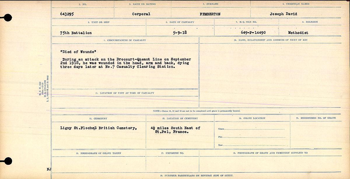 Attestation Papers– Circumstances of Death- Corporal Joseph David Pemberton