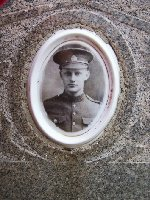 Photo of George Simpson– Close up of photo embedded in headstone marker in the Milford Cemetery to remember George Haliday Simpson.