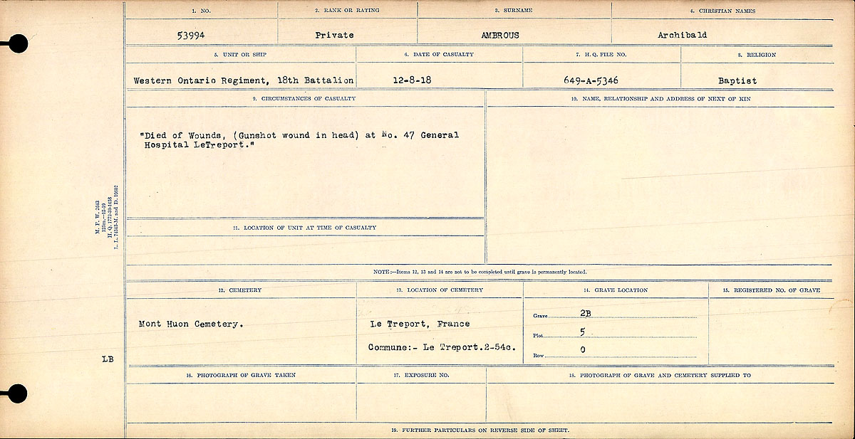 """Circumstances of Death Registers– """"Died of Wounds. (Gunshot wound in head) at No. 47 General Hospital LeTreport."""