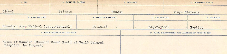 Circumstance of death– Source: Library and Archives Canada.  CIRCUMSTANCES OF DEATH REGISTERS FIRST WORLD WAR Surnames: Brabant to Britton. Mircoform Sequence 13; Volume Number 131829_B016722; Reference RG150, 1992-93/314, 157 Page 555 of 906