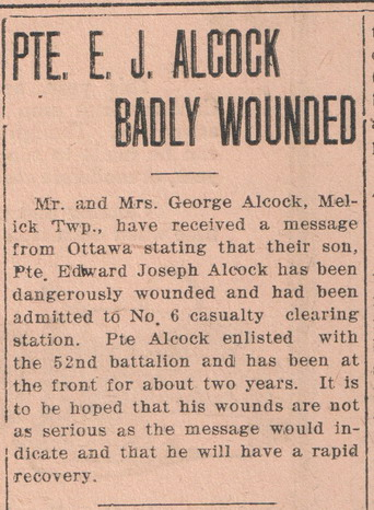Newspaper Clipping– courtesy of the Kenora Miner and News Archives and Kenora Great War Project