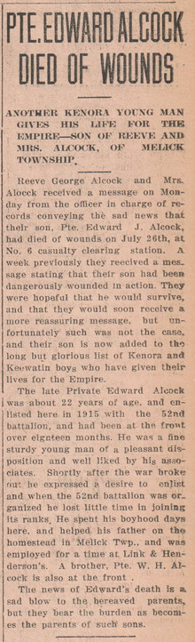 Newspaper Clipping– courtesy of Kenora Miner and News Archives and Kenora Great War Project