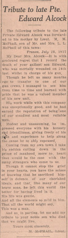 Newspaper Clipping– courtesy of Kenora Miner and News and Kenora Great War Project