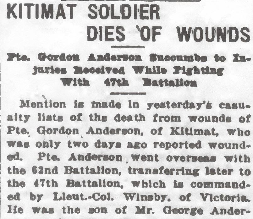 Newspaper clipping– From the Daily Colonist of February 22, 1917. Image taken from web address of http://archive.org/stream/dailycolonist59y63uvic#page/n0/mode/1up