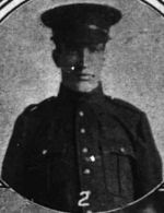 Photo of ROBERT GEORGE STEWART ANDERSON– Picture in Peterborough Examiner, April 15, 1916 Page 9.  Caption attached to picture states: Pte. R.G.S. Anderson, son of Mr. Lauchlin Anderson, 592 Aylmer Street, enlisted at Edmonton with 65th Battalion, now in France.