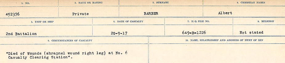 Circumstances of Death Registers– Source: Library and Archives Canada.  CIRCUMSTANCES OF DEATH REGISTERS, FIRST WORLD WAR Surnames:  Babb to Barjarow. Microform Sequence 5; Volume Number 31829_B016715. Reference RG150, 1992-93/314, 149.  Page 959 of 1072