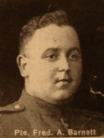 Photo of Frederick Barnett– In memory of the men and women from the Waterloo area who went to war and did not come home. From the booklet, Peace Souvenir – Activities of Waterloo County in the Great War 1914 – 1918. From the Toronto Public Library collection.  Submitted for the project, Operation: Picture Me.