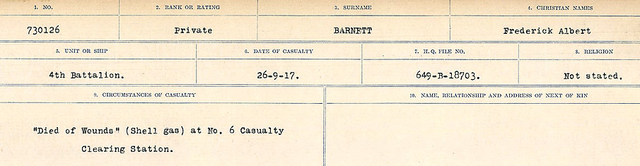 Circumstances of Death– Source: Library and Archives Canada.  CIRCUMSTANCES OF DEATH REGISTERS, FIRST WORLD WAR Surnames:  Bark to Bazinet. Mircoform Sequence 6; Volume Number 31829_B016716. Reference RG150, 1992-93/314, 150.  Page 273 of 1058.