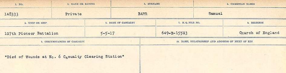 Circumstances of Death– Source: Library and Archives Canada.  CIRCUMSTANCES OF DEATH REGISTERS, FIRST WORLD WAR Surnames:  Bark to Bazinet. Mircoform Sequence 6; Volume Number 31829_B016716. Reference RG150, 1992-93/314, 150.  Page 373 of 1058.