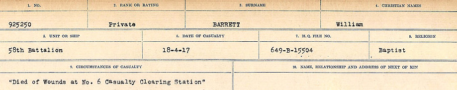 Circumstances of Death– Source: Library and Archives Canada.  CIRCUMSTANCES OF DEATH REGISTERS, FIRST WORLD WAR Surnames:  Bark to Bazinet. Mircoform Sequence 6; Volume Number 31829_B016716. Reference RG150, 1992-93/314, 150.  Page 455 of 1058.