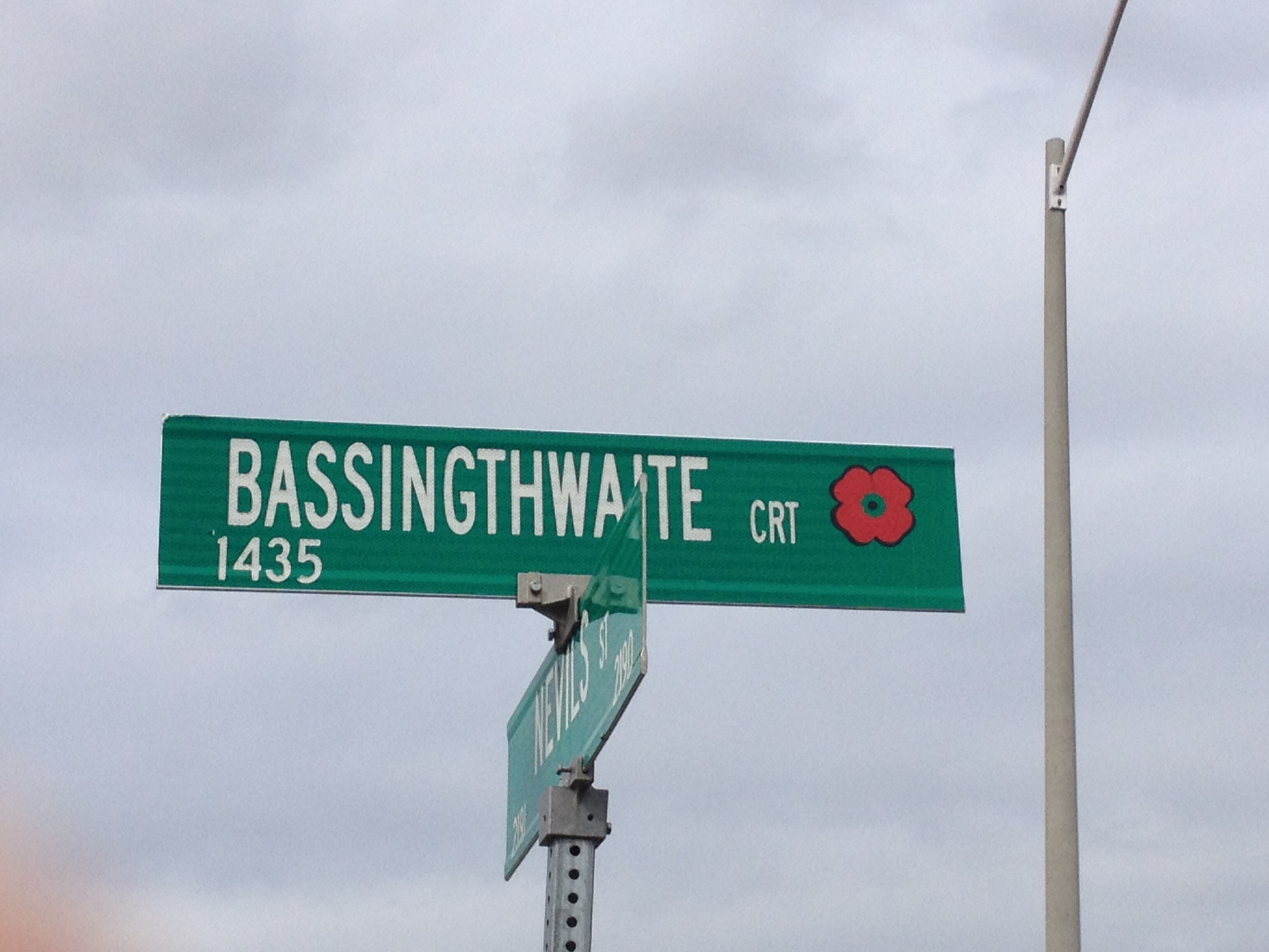 Memorial Street– Innisfil street named in honour of Corporal Harold Ward Bassingthwaighte with a poppy.