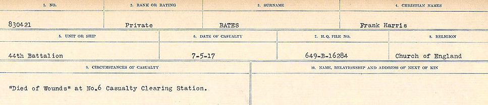 Circumstances of Death– Source: Library and Archives Canada.  CIRCUMSTANCES OF DEATH REGISTERS, FIRST WORLD WAR Surnames:  Bark to Bazinet. Mircoform Sequence 6; Volume Number 31829_B016716. Reference RG150, 1992-93/314, 150.  Page 837 of 1058.