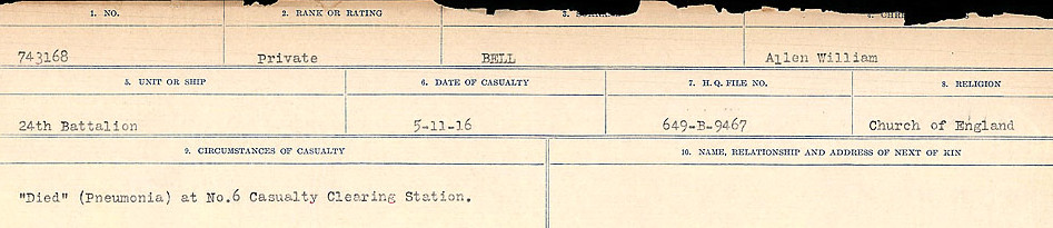 Circumstances of Death Registers– Source: Library and Archives Canada.  CIRCUMSTANCES OF DEATH REGISTERS FIRST WORLD WAR Surnames: Bernard to Binyan. Mircoform Sequence 8; Volume Number 31829_B016718; Reference RG150, 1992-93/314, 152 Page 13 of 670