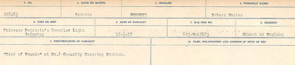 Circumstances of Death– Source: Library and Archives Canada.  CIRCUMSTANCES OF DEATH REGISTERS FIRST WORLD WAR Surnames:  Bell to Bernaquez.  Mircoform Sequence 8; Volume Number 31829_B016718; Reference RG150, 1992-93/314, 152 Page 483 of 670