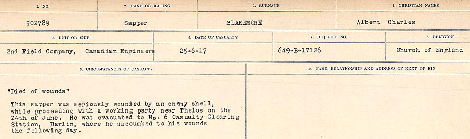 Circumstances of Death Registers– Source: Library and Archives Canada.  CIRCUMSTANCES OF DEATH REGISTERS FIRST WORLD WAR Surnames: Birch to Blakstad. Mircoform Sequence 10; Volume Number 31829_B034746; Reference RG150, 1992-93/314, 154 Page 719 of 734.