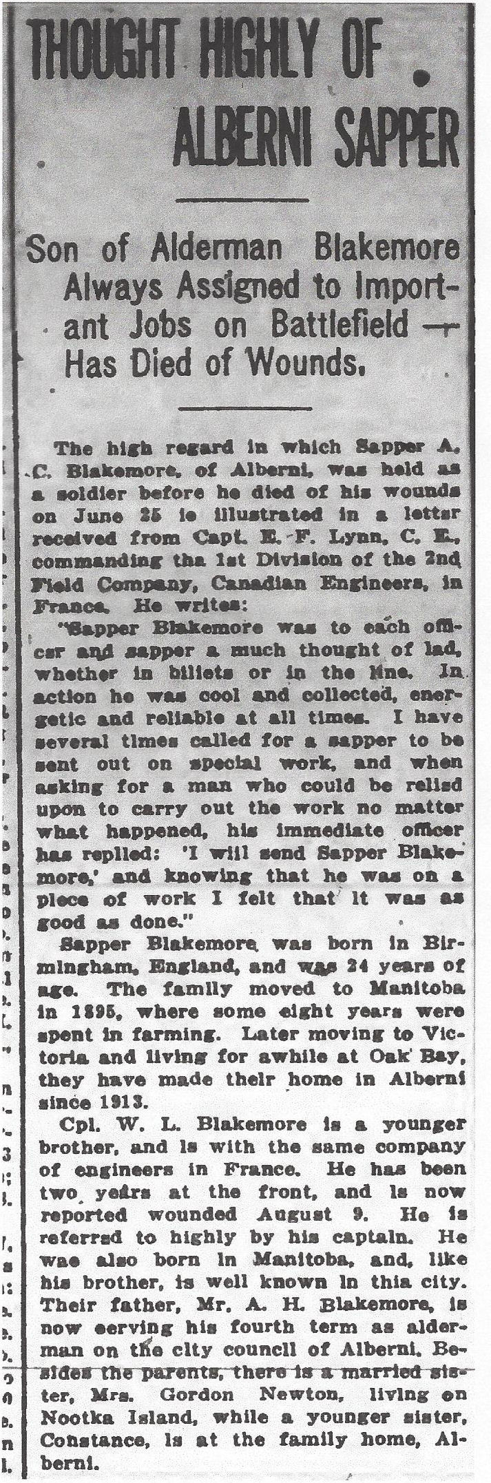 Newspaper clipping– From the Daily Colonist of September 1, 1917. Image taken from web address of http://archive.org/stream/dailycolonist59y228uvic#page/n0/mode/1up