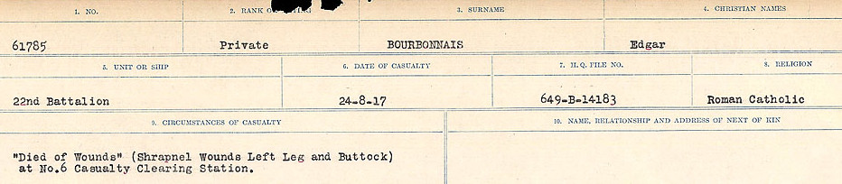 Circumstances of Death Registers– Source: Library and Archives Canada.  CIRCUMSTANCES OF DEATH REGISTERS FIRST WORLD WAR Surnames: Border to Boys. Mircoform Sequence 12; Volume Number 131829_B016721; Reference RG150, 1992-93/314, 156 Page 313 of 934
