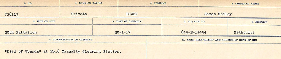 Circumstances of Death Registers– Source: Library and Archives Canada.  CIRCUMSTANCES OF DEATH REGISTERS FIRST WORLD WAR Surnames: Border to Boys. Mircoform Sequence 12; Volume Number 131829_B016721; Reference RG150, 1992-93/314, 156 Page 529 of 934