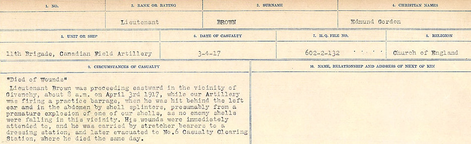 Circumstances of Death Registers– Source: Library and Archives Canada.  CIRCUMSTANCES OF DEATH REGISTERS FIRST WORLD WAR Surnames: Broad to Broyak. Mircoform Sequence 14; Volume Number 31829_B016723; Reference RG150, 1992-93/314, 158 Page 495 of 1128