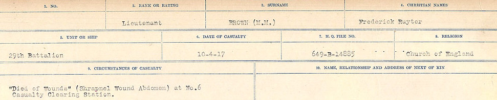 Circumstances of Death Registers– Source: Library and Archives Canada.  CIRCUMSTANCES OF DEATH REGISTERS FIRST WORLD WAR Surnames: Broad to Broyak. Mircoform Sequence 14; Volume Number 31829_B016723; Reference RG150, 1992-93/314, 158 Page 567 of 1128