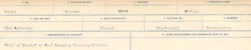 Circumstances of Death– Source: Library and Archives Canada.  CIRCUMSTANCES OF DEATH REGISTERS FIRST WORLD WAR Surnames: Broad to Broyak. Mircoform Sequence 14; Volume Number 31829_B016723; Reference RG150, 1992-93/314, 158 Page 985 of 1128