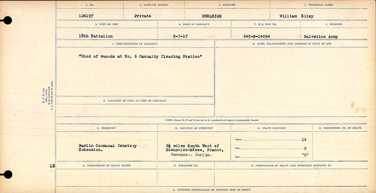 Circumstances of Death Registers– Circumstances of Death Register. This soldier's service record notes: Died of wounds received from enemy shell bursting in billet at No. 6 Canadian Casualty Clearing Station.  Contributed by E.Edwards www.18thbattalioncef.wordpress.com