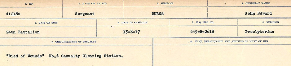 Circumstances of Death Registers– Source: Library and Archives Canada.  CIRCUMSTANCES OF DEATH REGISTERS, FIRST WORLD WAR Surnames:  Burbank to Bytheway. Microform Sequence 16; Volume Number 31829_B016725. Reference RG150, 1992-93/314, 160.  Page 383 of 926.