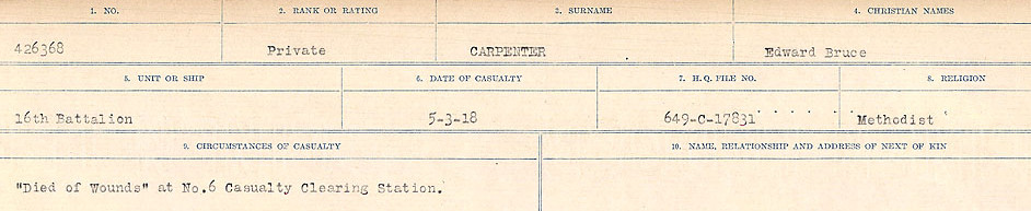Circumstances of Death Registers– Source: Library and Archives Canada.  CIRCUMSTANCES OF DEATH REGISTERS, FIRST WORLD WAR Surnames:  Canavan to Caswell. Microform Sequence 18; Volume Number 31829_B016727. Reference RG150, 1992-93/314, 162.  Page 375 of 1004.
