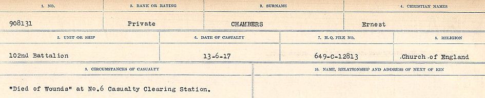 Circumstances of Death Registers– Source: Library and Archives Canada.  CIRCUMSTANCES OF DEATH REGISTERS, FIRST WORLD WAR Surnames:  CATCHPOLE TO CHIGNELL. Microform Sequence 19; Volume Number 31829_B016728. Reference RG150, 1992-93/314, 165. Page 329 of 958.