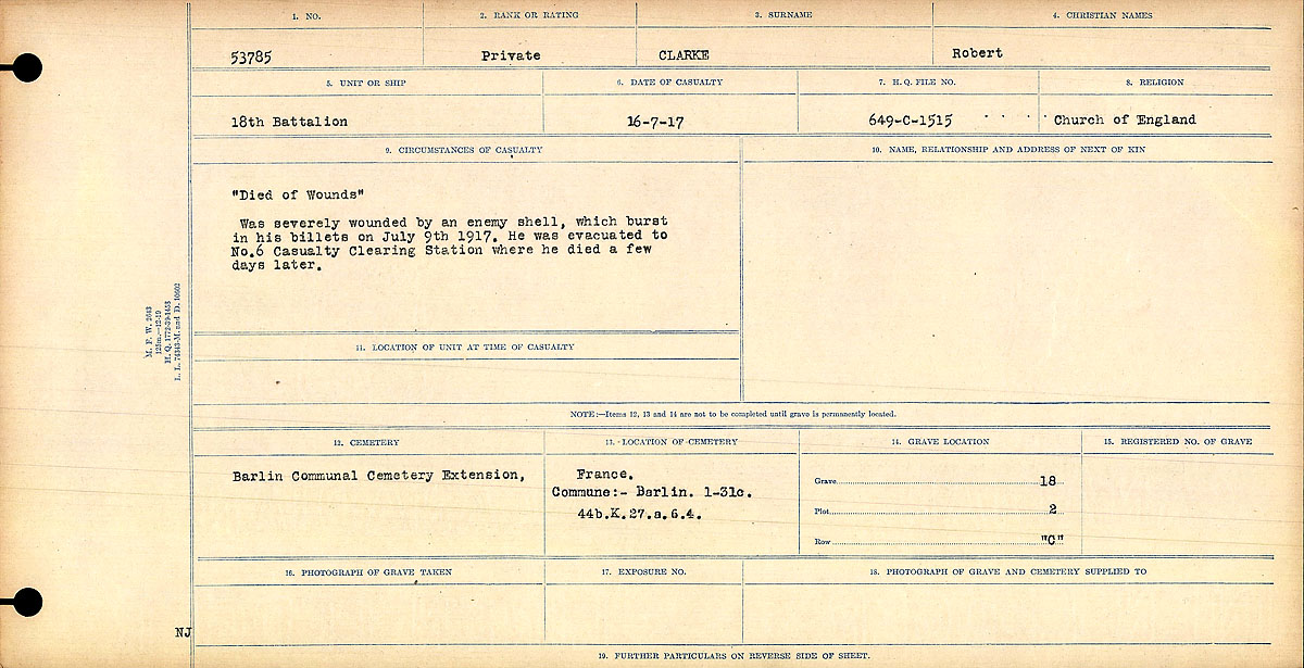 """Attestation Papers– Circumstances of Death Register: """"Died of Wounds"""" Was severely wounded by an enemy shell, which burst in his billets on July 9th, 1917. He was evacuated to No. 6 Casualty Clearing Station, where he died a few days later.  Mikan record:46246 Volume Number:31829_B016729 Page:1 Number of pages:1068 Contributed by E.Edwards"""