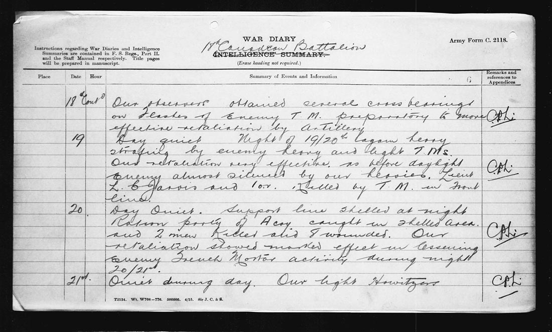 """War Diary– The 18th Battalion War Diary records on July 22nd, 1917:  """"During this tour LIEUT. T.R. DOUGALL rendered valuable service and obtained valuable information by making 3 daring reconnaissances among the buildings in NO MNS LAND. At M.19.a.70.00 and N.19.0.80.70 he searched these houses and German dugouts in the vicinity. 2 of these reconnaissances were made during daylight and from information gained he was able to direct artillery fire on T.M. [trench mortar] emplacements."""""""