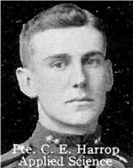 Photo of Charles Harrop– From: The Varsity Magazine Supplement published by The Students Administrative Council, University of Toronto 1916.   Submitted for the Soldiers' Tower Committee, University of Toronto, by Operation Picture Me.