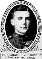Photo of Charles Harrop– From: The Varsity Magazine Supplement published by The Students Administrative Council, University of Toronto 1918.   Submitted for the Soldiers' Tower Committee, University of Toronto, by Operation Picture Me.