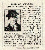 Newspaper Clipping– Pte. Lock enlisted in Toronto on February 26th, 1916.  His attestation was stamped for the 166th Overseas Battalion.
