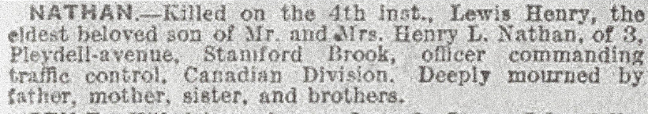 Newspaper Clipping– Newspaper clipping from the Daily Telegraph of June 11, 1917. Image taken from web address of http://www.telegraph.co.uk/news/ww1-archive/12214641/Daily-Telegraph-June-11-1917.html