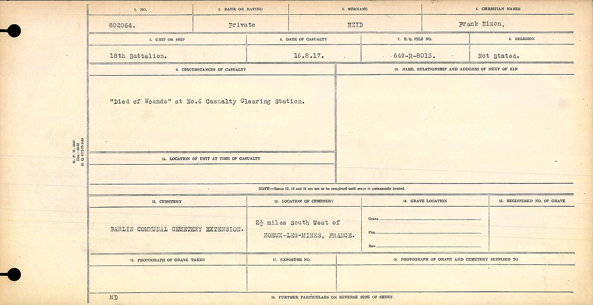 """Circumstances of Death Registers– """"Died of Wounds"""" at No. 6 Casualty Clearing Station."""