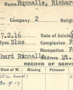 Record of Service– Record of Service Card (front side).  Archives 48th Highlanders of Canada.  Submitted by 15th bn Memorial Project Team.  DILEAS GU BRATH