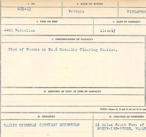 Circumstances of death registers– Private Thor Sigurdson