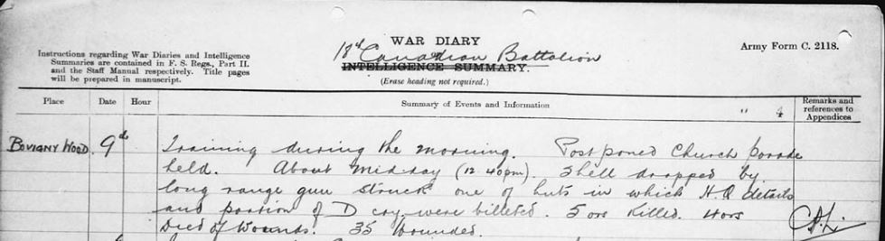 War Diary– Likely died of wounds due to shell landing in hut per July 9, 1917 18th Battalion War Diary: Training during the morning. Postponed Church Parade held. About midday (12.40 pm) shell dropped by long range gun struck one of the huts in which H.Q. details and portion of D coy where billeted. 5 ors Killled. 4 ors died of wounds. 35 wounded.  Contributed by E.Edwards www.18thbattalioncef.wordpress.com