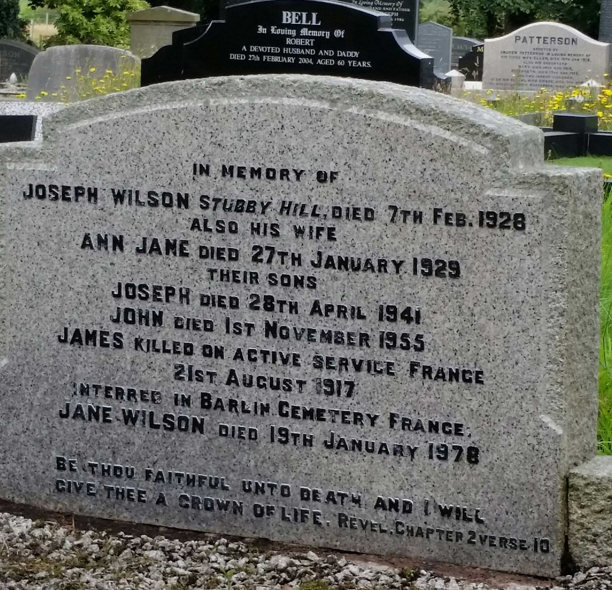 Grave Marker– This is the family plot for the Wilson family. Although James was killed in action at the Battle of Hill 70 his name is also mentioned on the family headstone at Cargycreevy Presbyterian Church outside Lisburn , Co. Down, Northern Ireland