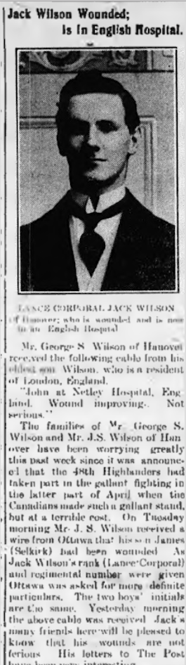 Newspaper clipping– Clipping about John Sillery Wilson who was James' brother who also served with the 15th Battalion (48th Highlanders). Newspaper clipping – In memory of the members of the 15th, 92nd and 134th Battalions (48th Highlanders) who went to war and did not return. Submitted by the 48th Highlanders Museum 73 Simcoe St. Toronto for the project, Operation: Picture Me.