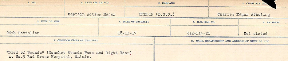 Circumstance of Death– Source: Library and Archives Canada.  CIRCUMSTANCES OF DEATH REGISTERS FIRST WORLD WAR Surnames: Brabant to Britton. Mircoform Sequence 13; Volume Number 131829_B016722; Reference RG150, 1992-93/314, 157 Page 401 of 906