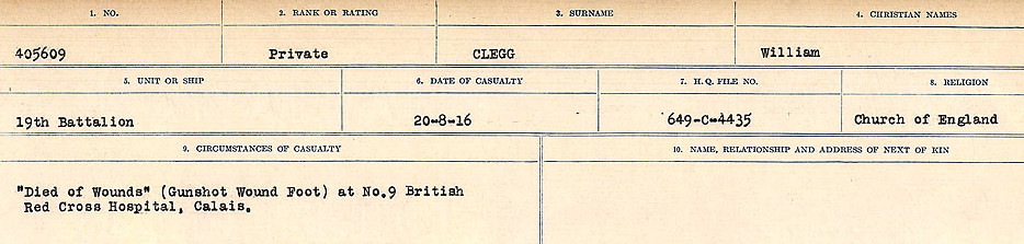 Photo of WILLIAM CLEGG– Source: Library and Archives Canada.  CIRCUMSTANCES OF DEATH REGISTERS, FIRST WORLD WAR Surnames:  CLEAL TO CONNOLLY.  Microform Sequence 21; Volume Number 31829_B016730. Reference RG150, 1992-93/314, 165.  Page 49 of 1384.