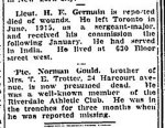 Newspaper Clipping– From the Toronto Globe for 6 July 1917.